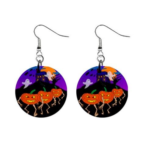Ghost And Gobblings Earrings By Maryanne   1  Button Earrings   U9molhiek147   Www Artscow Com Front