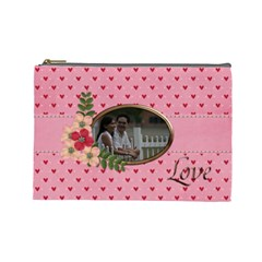 Cosmetic Bag (large) : Pink Love By Jennyl   Cosmetic Bag (large)   43ie4ydeex16   Www Artscow Com Front