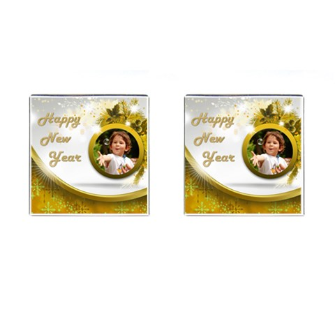Happy New Year Cufflinks Gold (square) By Deborah   Cufflinks (square)   60mot1ynhmx0   Www Artscow Com Front