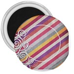 Striped Button - 3  Magnet