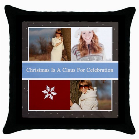 Merry Christmas By May   Throw Pillow Case (black)   Ca2iyiissy5f   Www Artscow Com Front