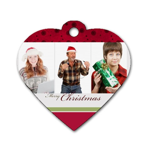 Merry Christmas By May   Dog Tag Heart (one Side)   X23edrj4igiw   Www Artscow Com Front