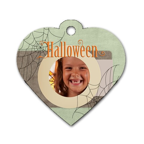 Halloween By Joely   Dog Tag Heart (one Side)   Xonc2g9kjtg8   Www Artscow Com Front