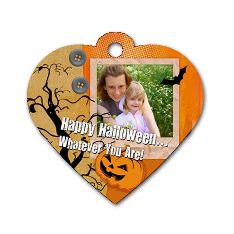 Halloween By Joely   Dog Tag Heart (one Side)   Qdnq8vqsppzu   Www Artscow Com Front