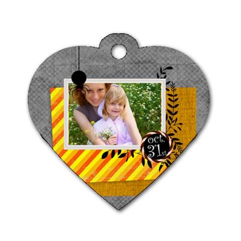 Halloween By Joely   Dog Tag Heart (one Side)   7cvjpe1uwcbb   Www Artscow Com Front