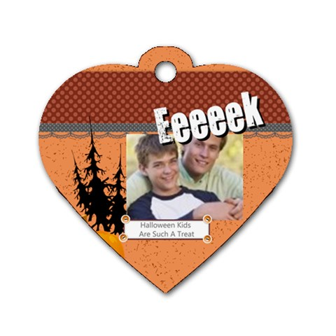 Halloween By Joely   Dog Tag Heart (one Side)   Lv5dcem113aq   Www Artscow Com Front