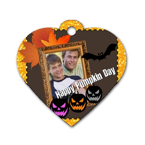 Halloween By Joely   Dog Tag Heart (one Side)   Xs1y18mrafgp   Www Artscow Com Front