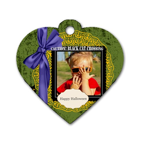 Halloween By Joely   Dog Tag Heart (one Side)   0je4udt3ipa8   Www Artscow Com Front