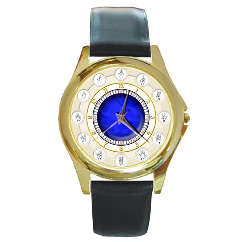 Asl Watch By Timm Miller   Round Gold Metal Watch   7ompoh8kevvg   Www Artscow Com Front