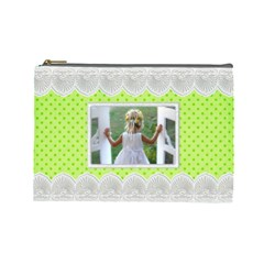Lime And Lace Large Cosmetic Bag By Deborah   Cosmetic Bag (large)   Pa6tqysccpmk   Www Artscow Com Front