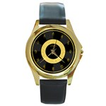 American Sign Language - Black - Round Gold Metal Watch