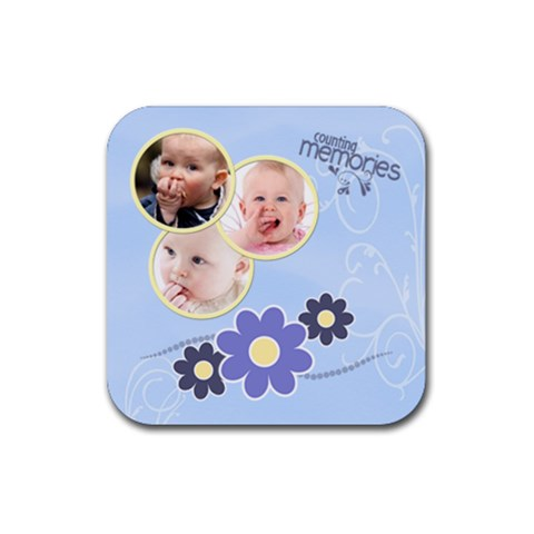Serenity Blue Rubber Square Coaster (4 Pack) By Picklestar Scraps   Rubber Square Coaster (4 Pack)   Haiyi7q5d87c   Www Artscow Com Front