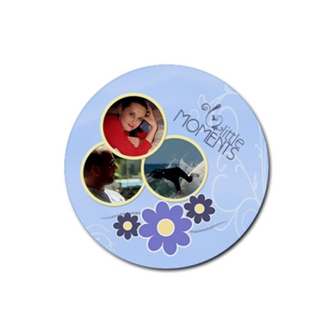 Serenity Blue Rubber Round Coaster (4 Pack) By Picklestar Scraps   Rubber Round Coaster (4 Pack)   1yk8o3tyirby   Www Artscow Com Front