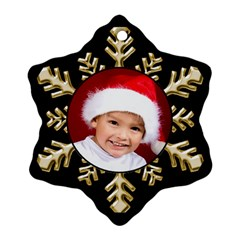 Black And Gold Snowflake Ornament (2 Sided) By Deborah   Snowflake Ornament (two Sides)   Ack0akje1o25   Www Artscow Com Front