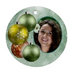 Shades of Pale Green christmas round ornament (2 sided) - Round Ornament (Two Sides)