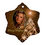 Golden Christmas Snowflake Ornament (2 Sided) - Snowflake Ornament (Two Sides)