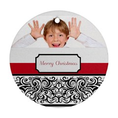 Christmas Theme Card By May   Round Ornament (two Sides)   Dnct80b3y66w   Www Artscow Com Front