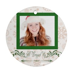 Christmas Theme Card By May   Round Ornament (two Sides)   N2x24k0leryu   Www Artscow Com Front