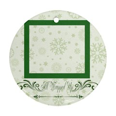 Christmas Theme Card By May   Round Ornament (two Sides)   N2x24k0leryu   Www Artscow Com Back