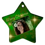 Merry Christmas Green Star (2 sided) - Star Ornament (Two Sides)