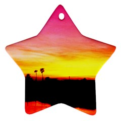 Pink Sunset Ceramic Ornament (star) by tammystotesandtreasures