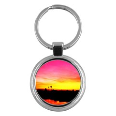 Pink Sunset Key Chain (round) by tammystotesandtreasures