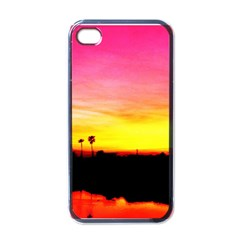 Pink Sunset Black Apple Iphone 4 Case by tammystotesandtreasures