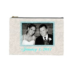 Anniversary Wedding Makeup Bag By Patricia W   Cosmetic Bag (large)   1xnq8h9l0qtj   Www Artscow Com Front