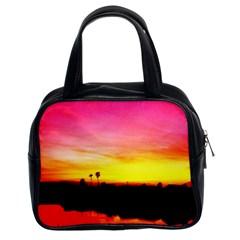 Pink Sunset Twin Sided Satched Handbag by tammystotesandtreasures