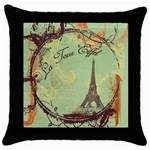 green eiffel sticker Throw Pillow Case (Black)