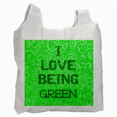 I Love Being Green By Patricia W   Recycle Bag (two Side)   Sutqsqmn4wgt   Www Artscow Com Front