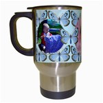 blue butterfly travel mug - Travel Mug (White)