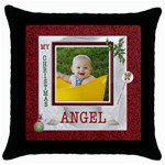 My Christmas Angel Throw Pillow case - Throw Pillow Case (Black)