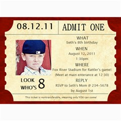 Baseball Ticket Birthday Invite By Lana Laflen   5  X 7  Photo Cards   Biuhg2ibyowt   Www Artscow Com 7 x5  Photo Card - 7