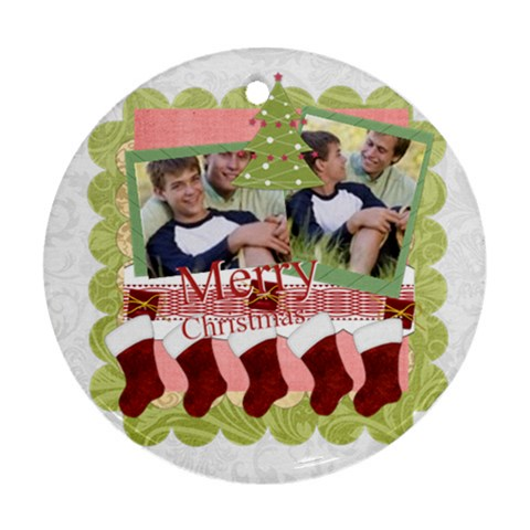 Merry Christmas By Joely   Ornament (round)   Kvx5mbxpobs6   Www Artscow Com Front