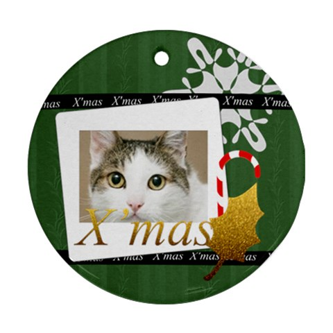 Merry Christmas By Joely   Ornament (round)   Dimv004285qy   Www Artscow Com Front