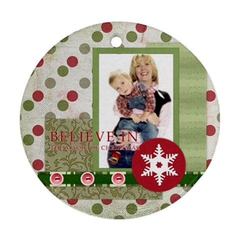 Merry Christmas By Joely   Ornament (round)   Ao1wtx0y0ysb   Www Artscow Com Front