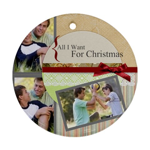 Merry Christmas By Joely   Ornament (round)   C2b1jn5a3rsk   Www Artscow Com Front