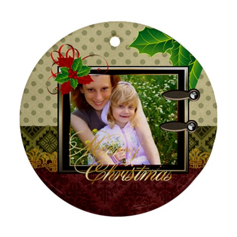 Merry Christmas By Joely   Ornament (round)   Esfc5pxkqljr   Www Artscow Com Front