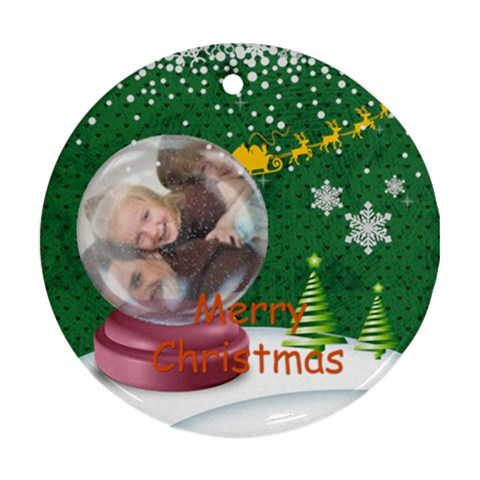 Merry Christmas By Joely   Ornament (round)   Jr8xqfocsd1v   Www Artscow Com Front