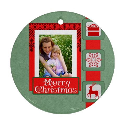 Merry Christmas By Joely   Ornament (round)   Uheqznya8abb   Www Artscow Com Front