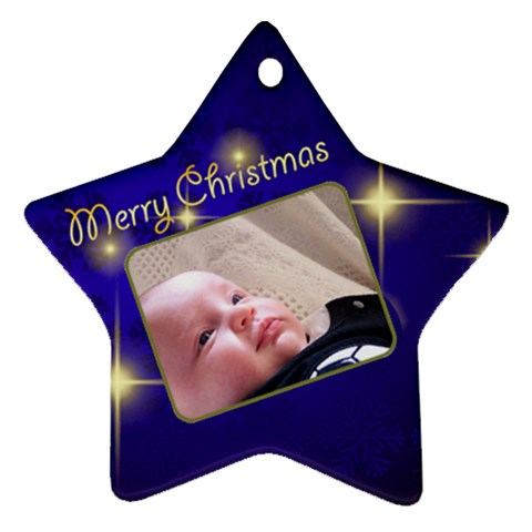 Merry Christmas Blue Star By Deborah   Ornament (star)   T8zde2gh1orn   Www Artscow Com Front
