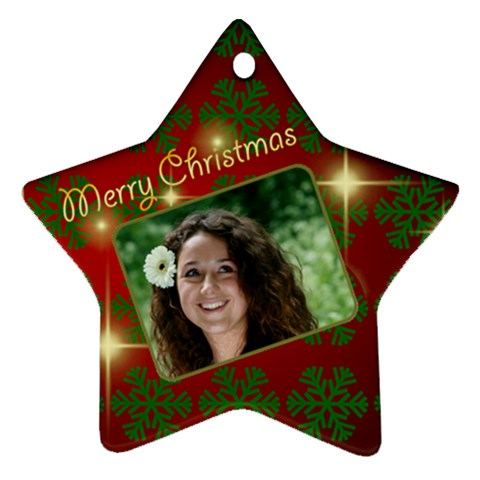Merry Christmas Red And Green Star By Deborah   Ornament (star)   Sxgamw8zknsa   Www Artscow Com Front