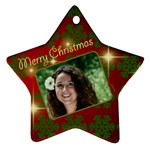 Merry Christmas red and Green Star - Ornament (Star)