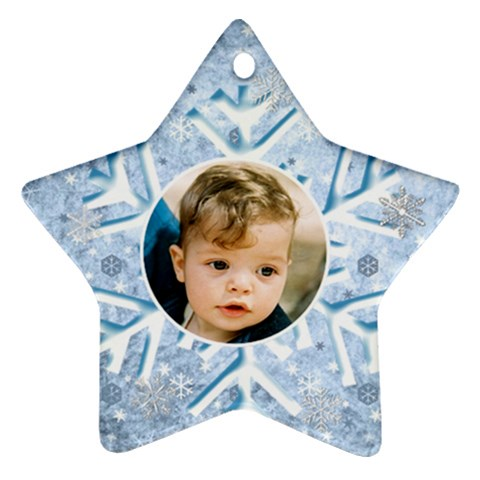 My Ice Blue Snowflake Star Ornament By Deborah   Ornament (star)   Hwbro22d99el   Www Artscow Com Front