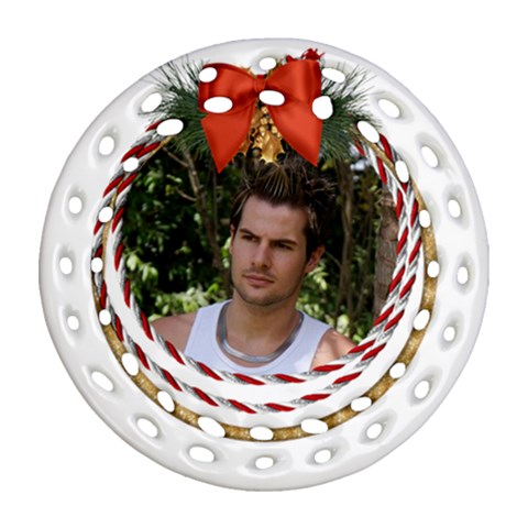 Seasons Joy Filigree Ornament By Deborah   Ornament (round Filigree)   Cij5gd5dmski   Www Artscow Com Front
