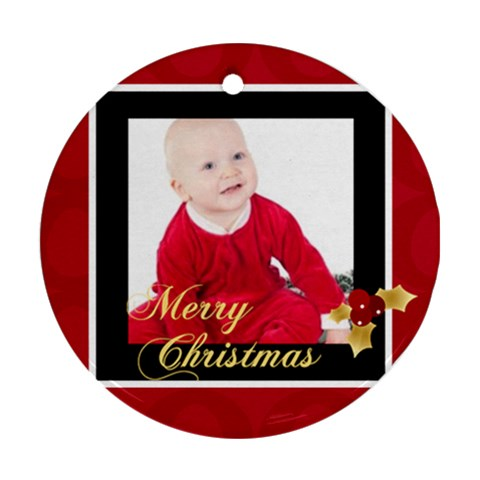 Xmas Gift By May   Ornament (round)   1naqqq4235zv   Www Artscow Com Front