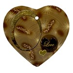 Love Oval Gold 2 side Heart ornament - Heart Ornament (Two Sides)