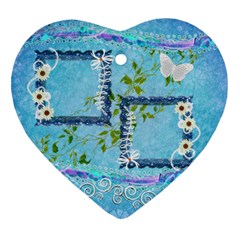 Blue Spring Easter 2 Side Heart Ornament By Ellan   Heart Ornament (two Sides)   Uvjw8wd4kqsi   Www Artscow Com Front