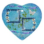 Blue spring easter 2 side Heart ornament - Heart Ornament (Two Sides)